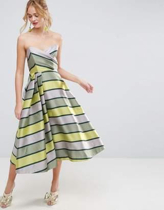ASOS SALON Bandeau Stripe Midi Prom Dress $151 thestylecure.com