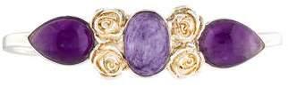 LeiVanKash Charoite & Amethyst Floral Hand Cuff