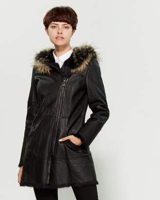 Intuition Paris Mia Real Fur-Trimmed Leather Coat