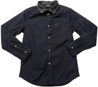 Diesel Cotton Poplin Shirt W/ Denim Collar