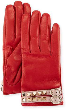 ValentinoValentino Leather Rockstud Gloves, Red