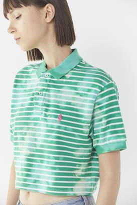 Urban Renewal Vintage Remade Bleach-Splashed Cropped Polo-Style Shirt