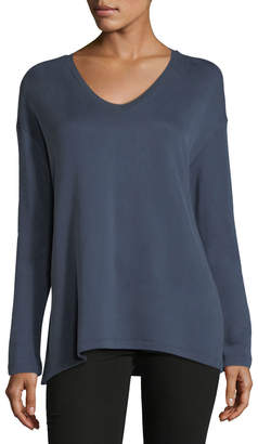 Neiman Marcus Majestic Paris For Cotton-Blend V-Neck Sweatshirt