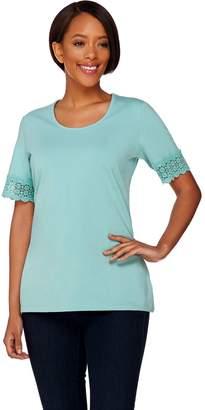 Denim & Co. Scoop Neck Short Sleeve Top with Crochet Trim