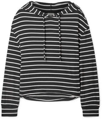 Eberjey Hooded Striped Jersey Pajama Top - Black