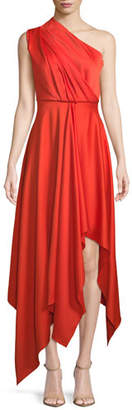 SOLACE London Marine One-Shoulder Draped Cocktail Dress