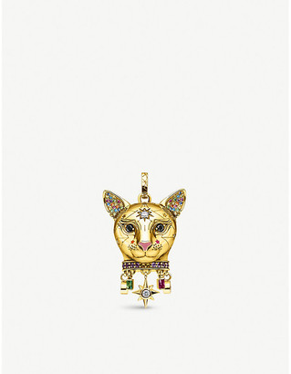 Thomas Sabo Cat-shaped gold-plated sterling silver and zirconia pendant