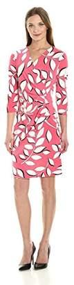 Adrianna Papell Women's V Neck 3/4 Sleeve Wrap Dress