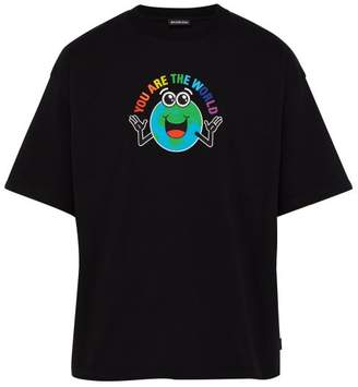 Balenciaga You Are The World Print Cotton T Shirt - Mens - Black