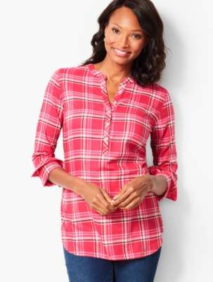 Talbots Hawthorne Rose Plaid Band-Collar Popover