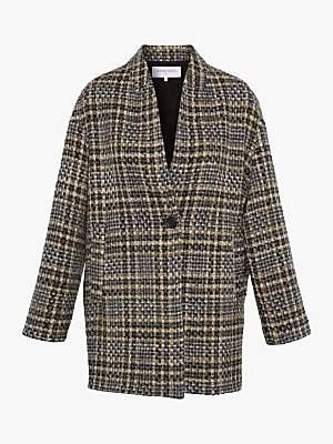 Gerard Darel Venus Tailored Check Coat, Grey