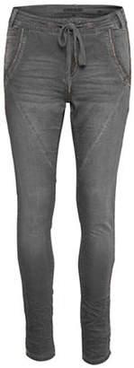 Cream Jogger Denim Pants