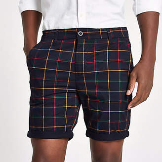 River Island Navy check turn-up hem skinny fit shorts