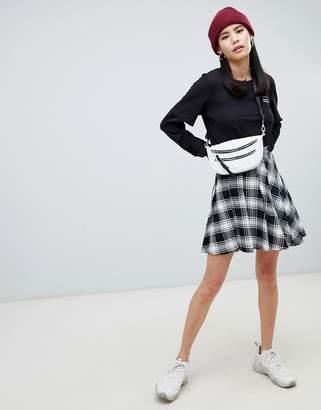 Monki checked pleated mini skirt