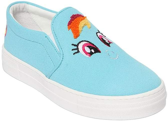 Rainbow Patch Canvas Slip-On Sneakers
