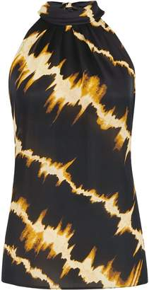 Dorothy Perkins Womens Black Tie Dye Print Halter Neck Top