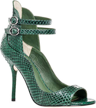 Max Studio emerald : genuine snake double ankle strap sandals