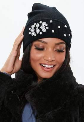 Missguided Black Gem Detail Beanie Hat