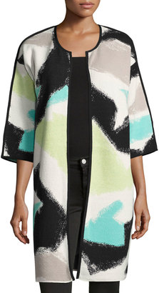 NIC+ZOE Freestyle Long Printed Jacket, Multi $139 thestylecure.com