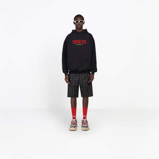 Balenciaga Hoody sweater with logo and 'sinners' message embroidered at front