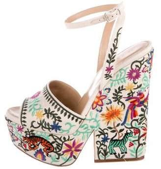Sergio Rossi Embroidered Platform Sandals