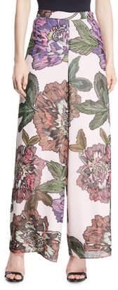 Badgley Mischka Wide-Leg Floral-Print Pants