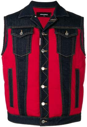 DSQUARED2 red panel denim vest
