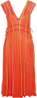M Missoni Metallic Striped Crochet-Knit Cotton-Blend Midi Dress