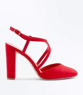 New Look Wide Fit Red Suedette Round Toe Block Heels