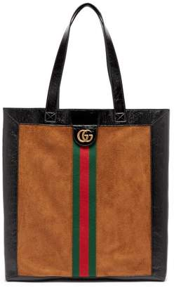 Gucci Ophidia Suede Large Tote With Leather Trim - Mens - Brown Multi