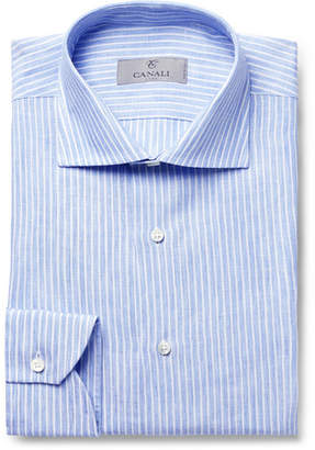 Canali Blue Slim-Fit Pinstriped Linen Shirt - Men - Blue