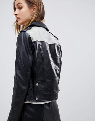 Muu Baa Muubaa Crackle Leather Biker Jacket with Contrast Back