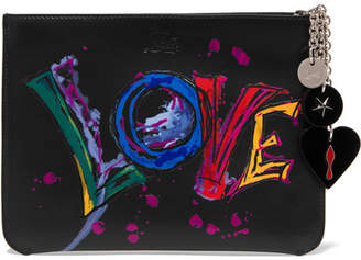 Christian Louboutin Loubicute Embellished Printed Leather Pouch - Black