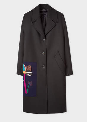 Paul Smith Women's Black Wool-Blend Twill Cocoon Coat With Applique Patch