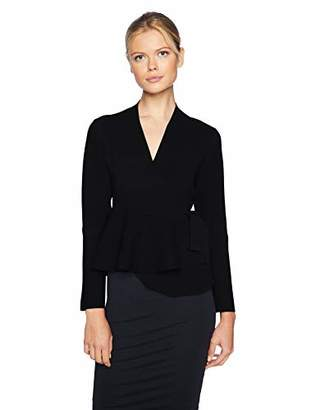 Lark & Ro Women's Peplum Belted Sweater Jacket with Bell Sleeves