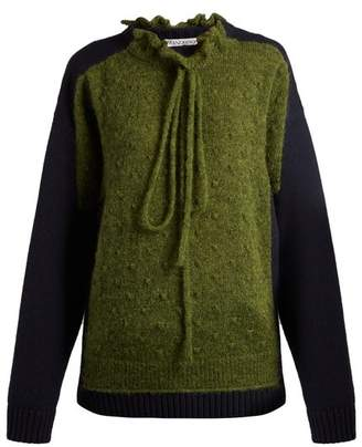 J.W.Anderson Panelled Lambswool Blend Sweater - Womens - Green Multi