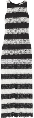 Alice + Olivia Alice Olivia - Lucia Striped Crocheted Maxi Dress - Black $440 thestylecure.com