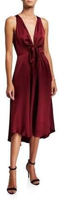 Joie Kataniya Plunging Tie-Front Cocktail Dress