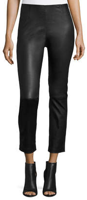 Alexander Wang Cropped Napa Leather Leggings, Black