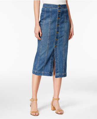 Style & Co Button-Front Denim Skirt, Created for Macy's $59.50 thestylecure.com