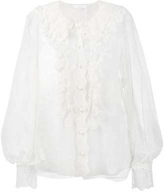 Chloé sheer ruffled blouse