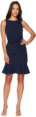 London Times Belted Dream Crepe Sheath Dress w/ Ruffle Women's Dress
