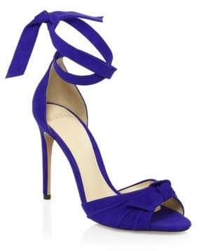 Alexandre Birman Bow Suede Ankle-Strap Sandals