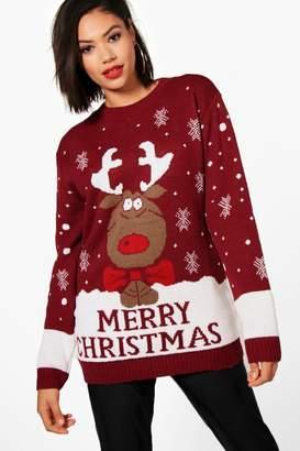 boohoo Rachel Reindeer Merry Christmas Jumper