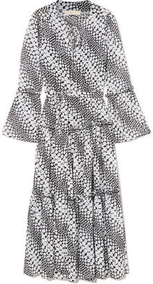 MICHAEL Michael Kors Tiered Floral-print Georgette Midi Dress - Black
