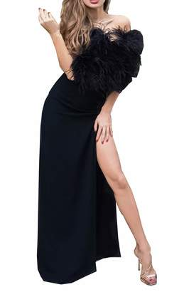 5de473f59375 MariRobe Women's High Split Evening Dresses Sleeveless Feather Formal Party  Dress Prom Dress Cocktail Gown US