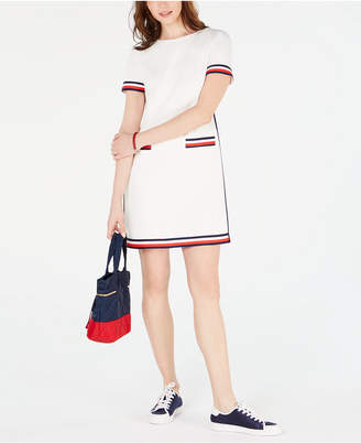 Tommy Hilfiger Striped-Trim Zip-Back Dress