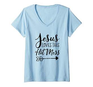 Womens Jesus Loves This Hot Mess Cute Funny Christian V-Neck T-Shirt