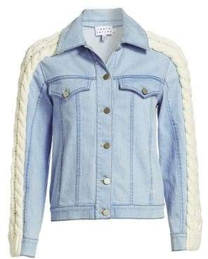 Tanya Taylor Percy Cable-Knit Denim Jacket
