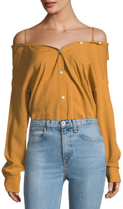 Theory Tamalee Button-Front Classic Georgette Silk Top